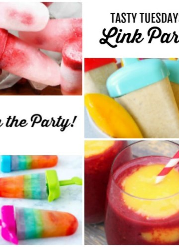 collage of Tasty Tuesdays' Link Party features for July 30