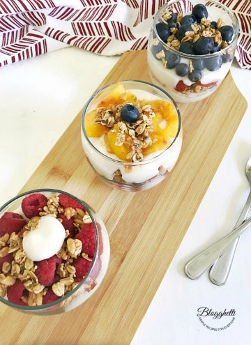 Fresh Fruit Yogurt Parfaits on serving platter