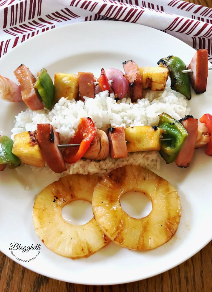 Grilled Hawaiian Ham Skewers on a bed of rice
