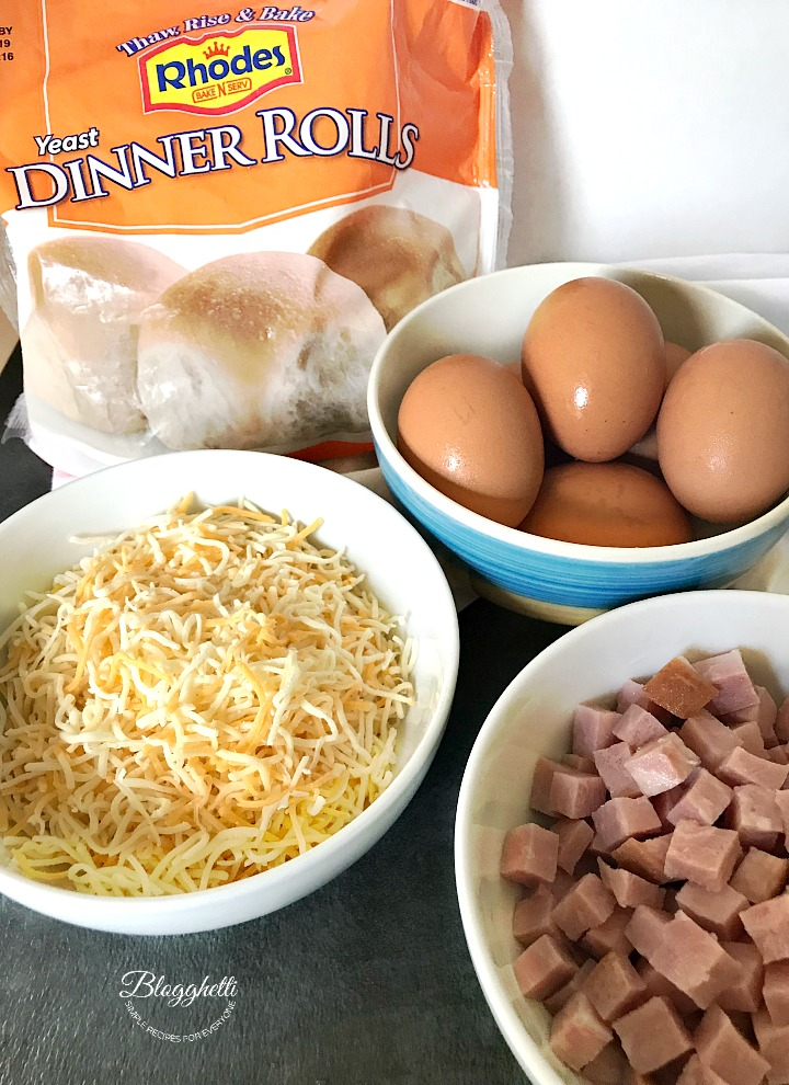 Ingredients for Ham, Egg, and Cheese Breakfast Calzones