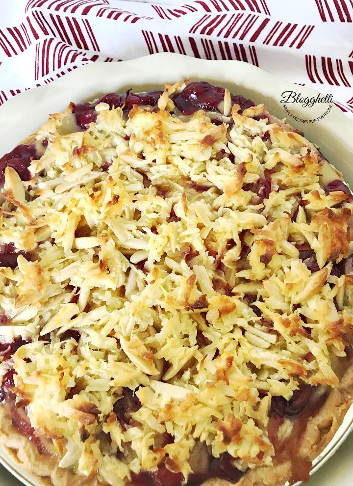Macaroon Cherry Pie in ceramic pie dish