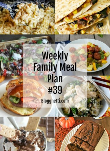 Weekly Family Meal Plan 39 collage of food