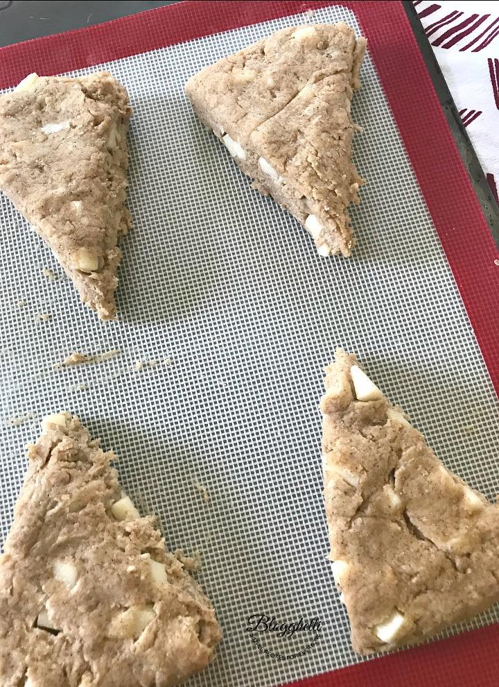caramel apple scones on baking sheet ready to bake
