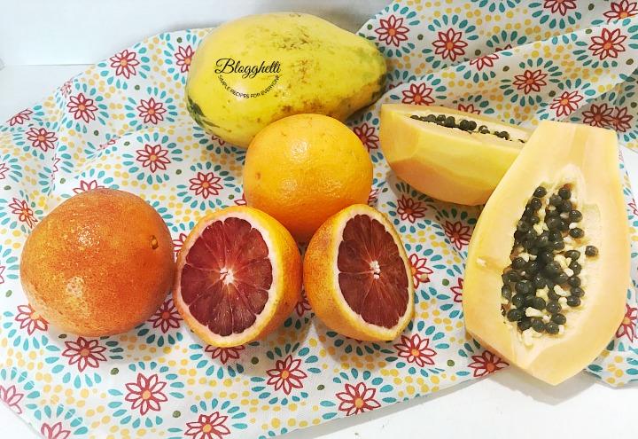 Blood oranges and strawberry papaya