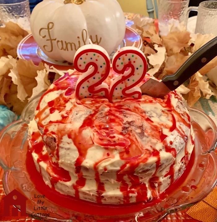 spooky red velvet birthday cake