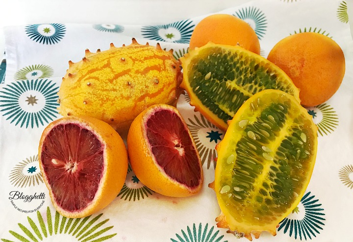 Kiwano horned melon and blood oranges