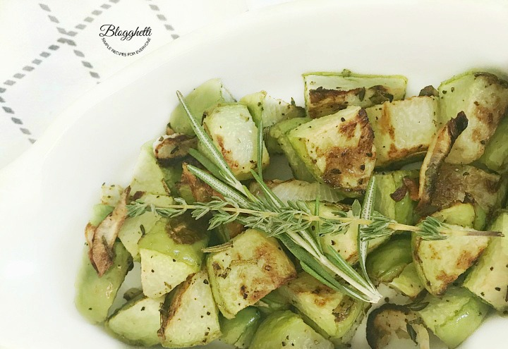 Roasted Chayote with Herbs close up
