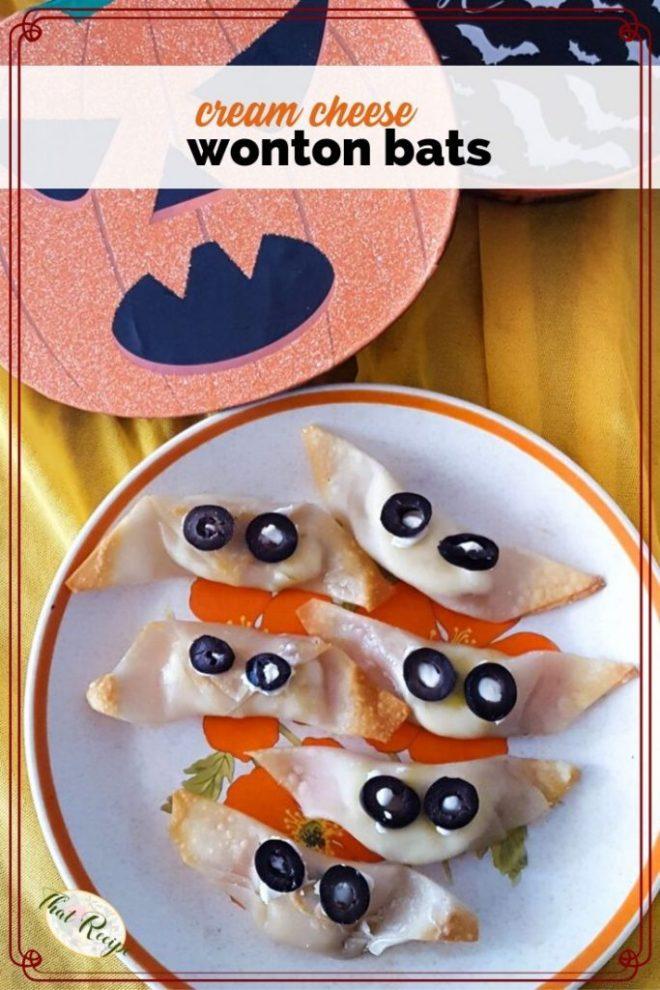 cream-cheese wonton bats