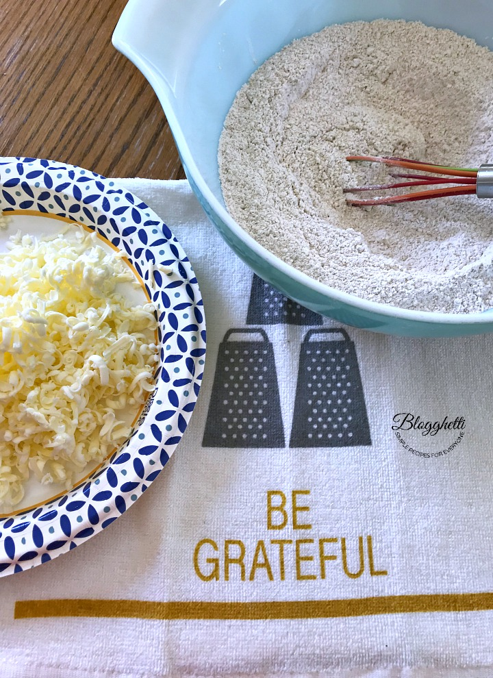 grated butter and dry ingredients