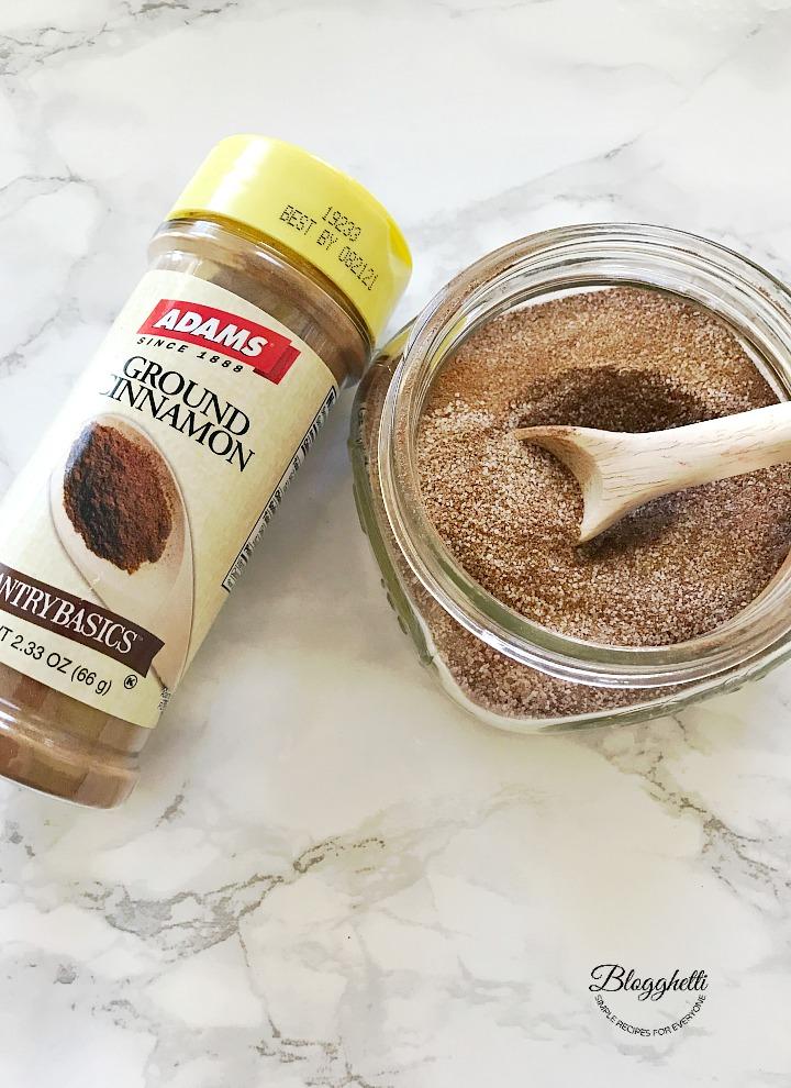Adams Extract - cinnamon and cinnamon sugar in mason jar
