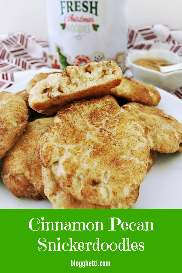Cinnamon Pecan Snickerdoodles on plate with cookie canister in background