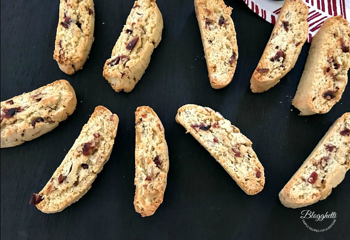 Cranberry Almond Biscotti baked and ready to eat