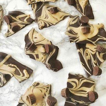 Easy Peanut Butter Chocolate Swirl Bark broken into pieces