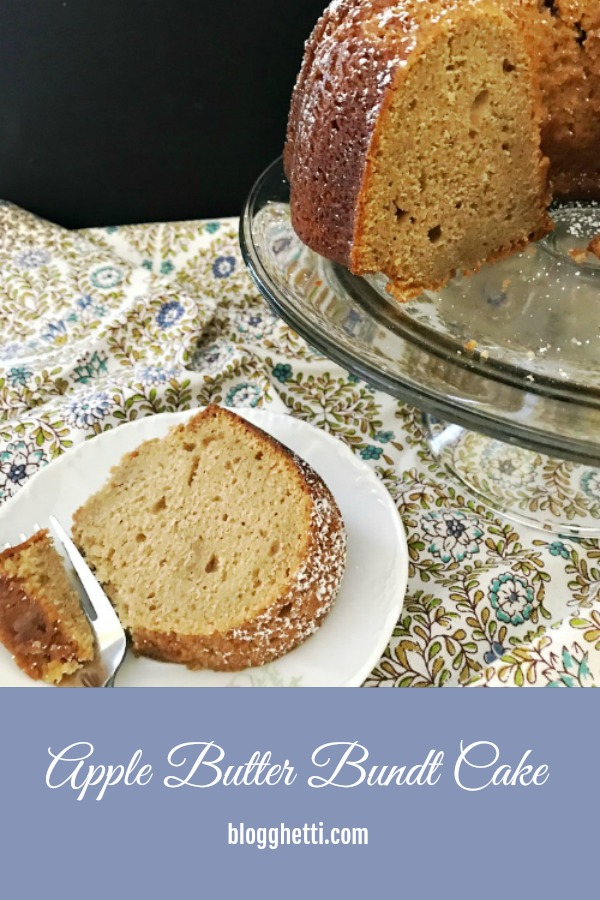 apple butter bundt cake with slice of cake on plate - pin