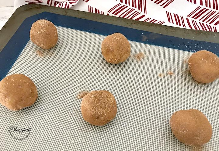 cinnamon pecan snickerdoodle dough balls rolled in cinnamon sugar