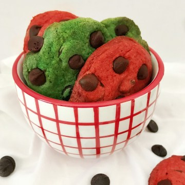 close up of Chocolate Chip Christmas Cookies in small bowl