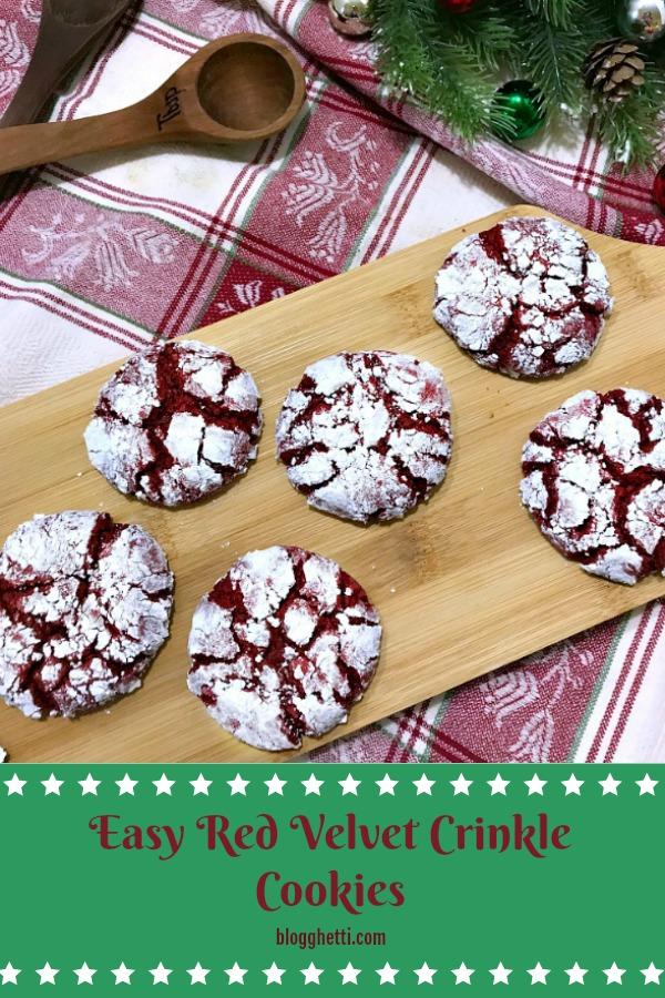 Easy Red Velvet Crinkle Cookies - pin