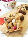 Valentine's M&M Cookie Bar squares - close up