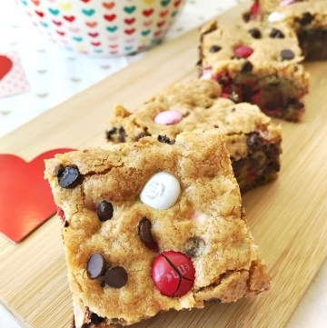 Valentine's M&M Cookie Bar squares - close up