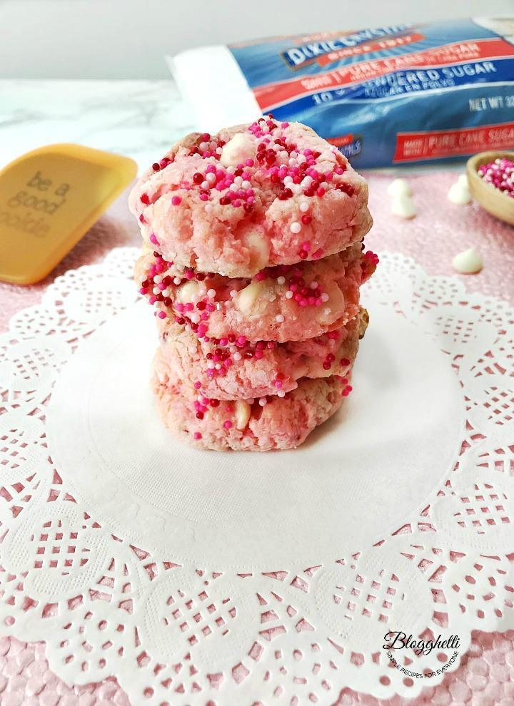 Strawberry cheesecake cookies with Dixie Sugar in the background