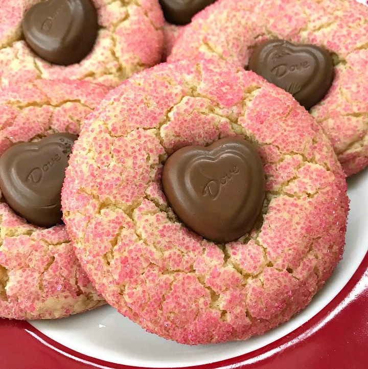 red plate filled with Valentine's Day Crinkle Cookies