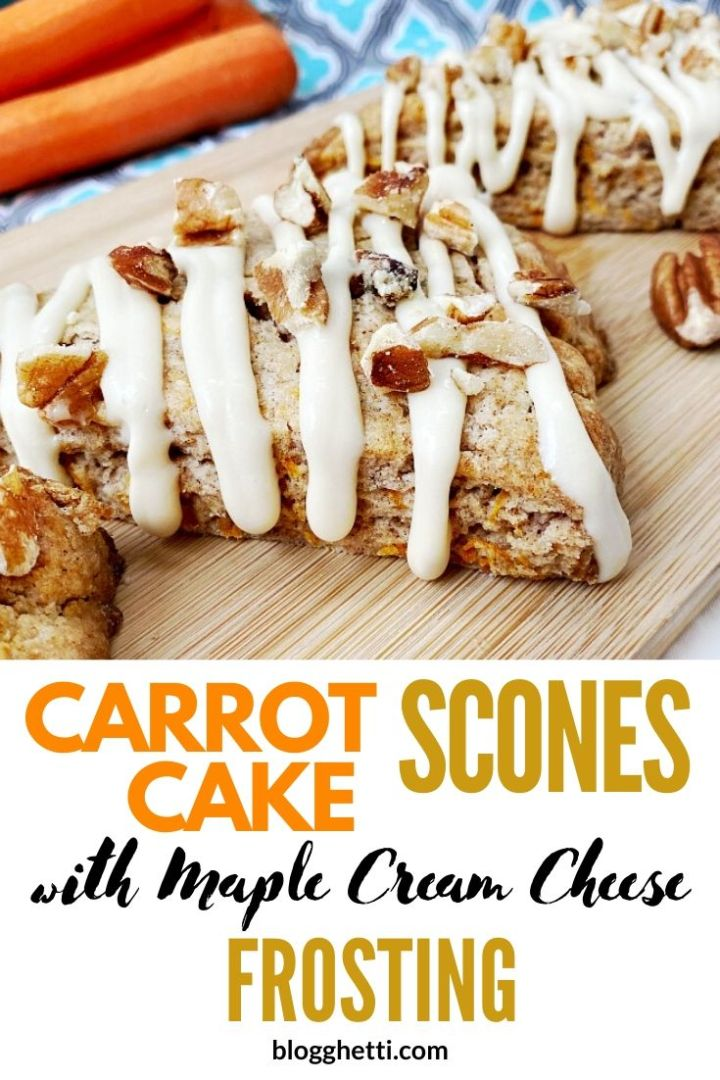 Carrot cake scones with pecans and frosting - pin