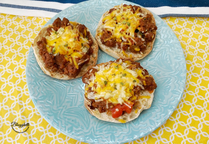 Cheesy Sloppy Joes on English Muffins - feature