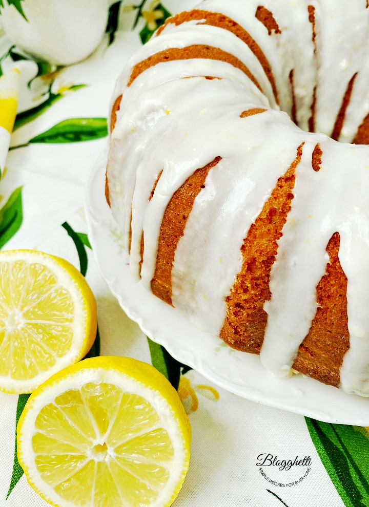 Close up of lemon bundt cake