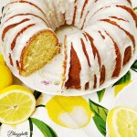 Easy Lemon Bundt Cake with Lemon Glaze with slice taken out