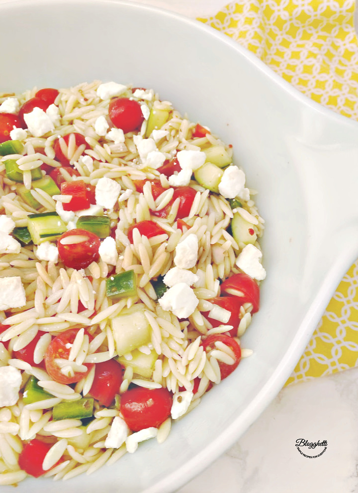 Orzo Pasta Salad with Feta Cheese