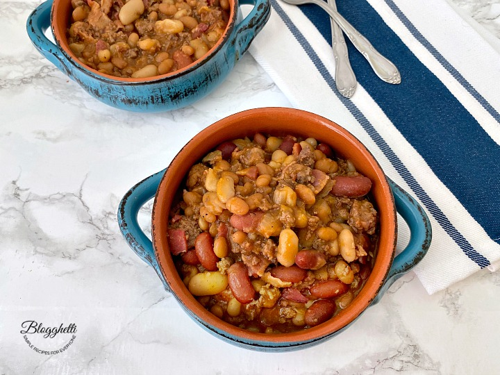Calico Baked Beans cooked in the crock pot