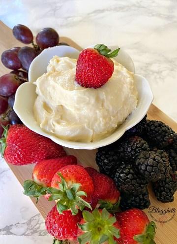 Easy fruit dip on platter with fresh fruit