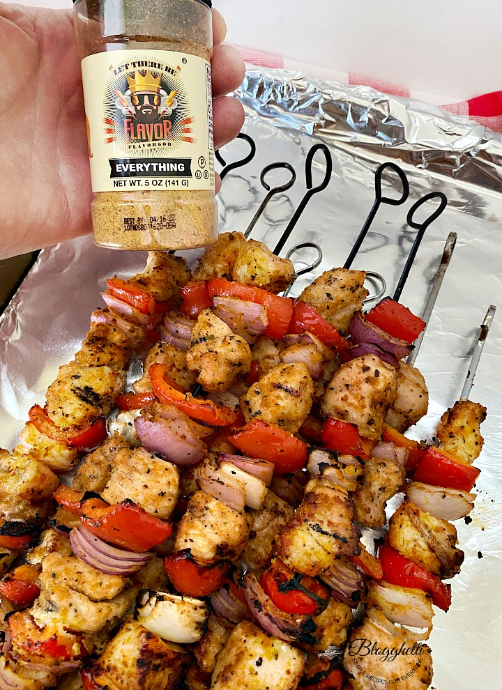 Flavor God seasoning jar with chicken kabobs