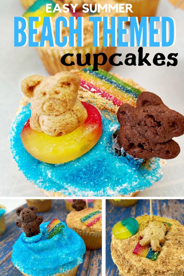 Easy Summer Beach Themed Cupcakes