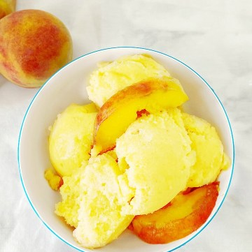 Fresh Peach Sorbet made with 3 ingredients