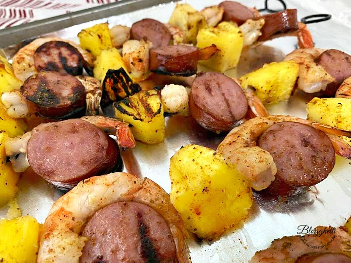 Grilled Skewers with Shrimp, Sausage, and Pineapple