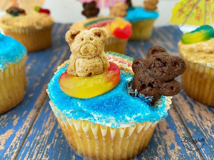 close up of beach themed lemon cupcake