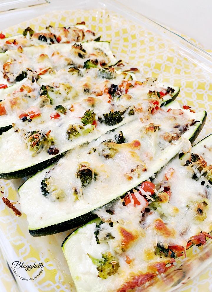 3 cheese stuffed zucchini with veggies