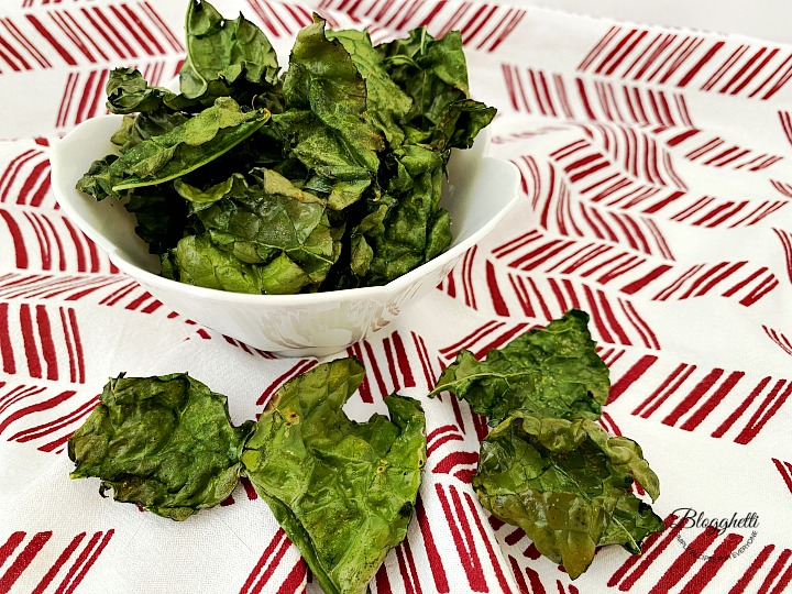 Air Fryer Kale Chips in white bowl