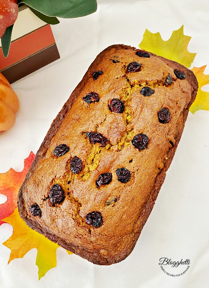 Loaf of Pumpkin Cranberry Bread