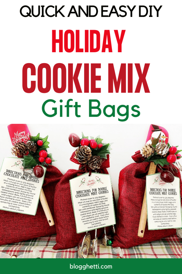 Christmas Cookie Mix Gift Bag with Printable Tags - pin image