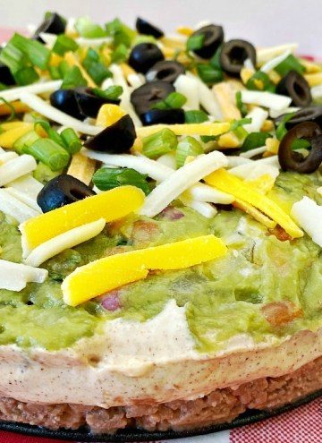 Classic Layered Taco Dip recipe made in a springform pan