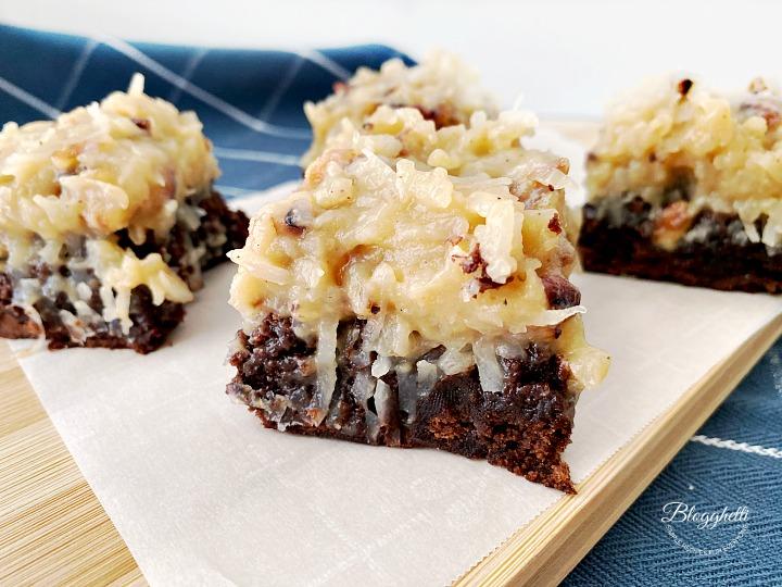 German Chocolate Brownies on wooden platter