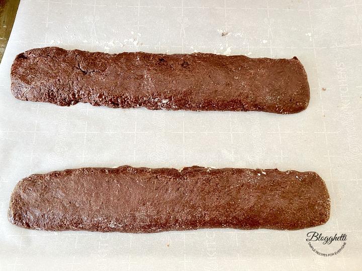 biscotti dough logs ready to bake