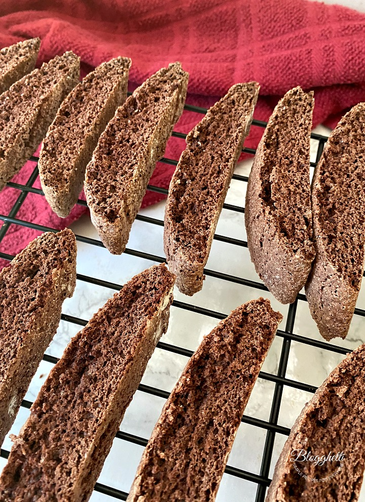 chocolate biscotti cooling on wire rack