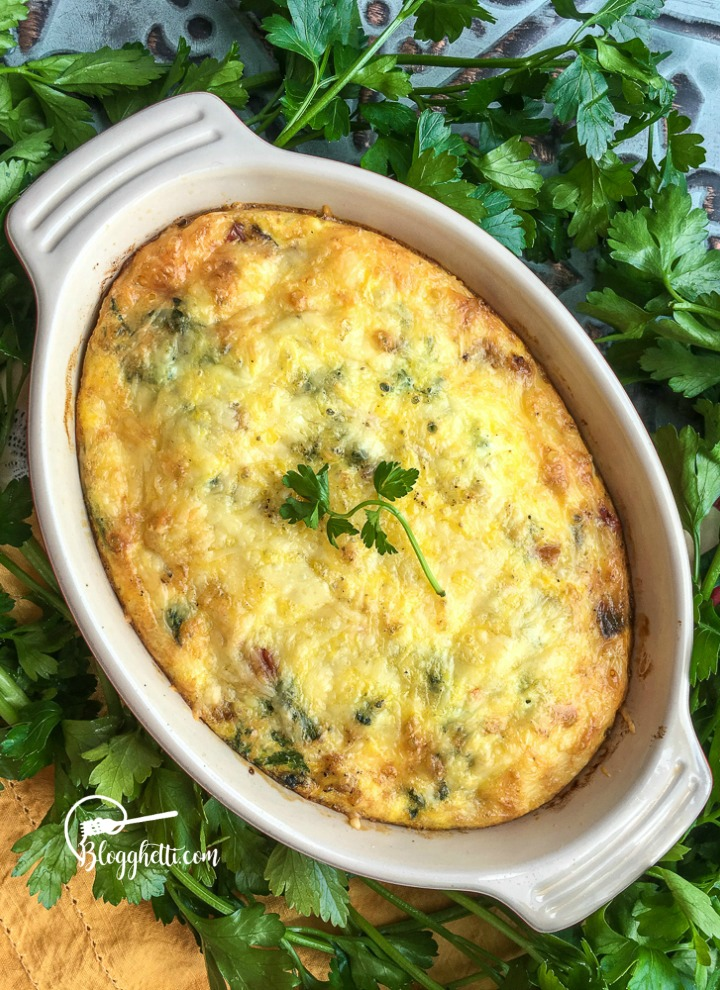 Creamy Cheesy Brussels Sprouts with BaconBaked Sweet Potato Frittata in oval baking dish with herbs