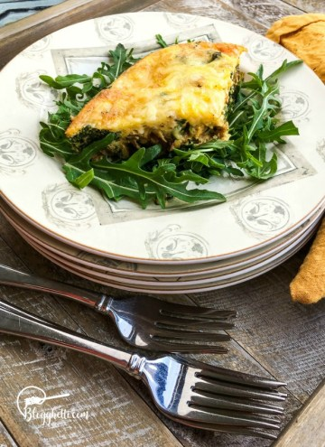 Sweet Potato Frittata plated with silverware on placememat