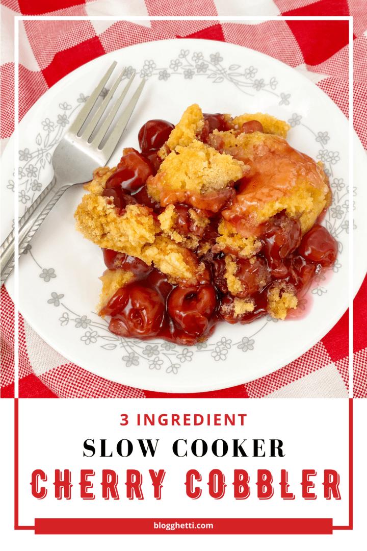 3 ingredient slow cooker cherry cobbler