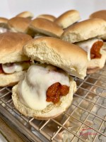 slow cooker meatball sliders with provolone cheese