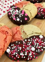 Neapolitan Cookies with sprinkles on wooden tray